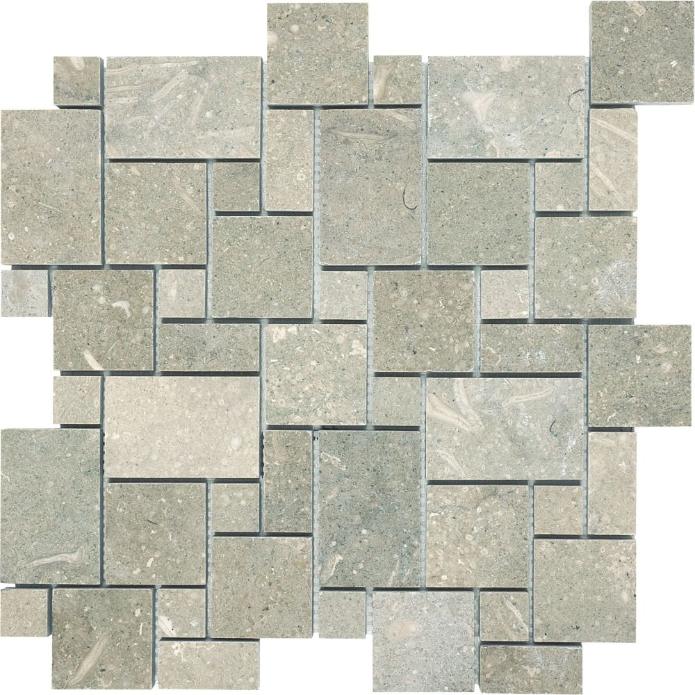 Honed Mini Versailles Mosaic Tile in Seagrass
