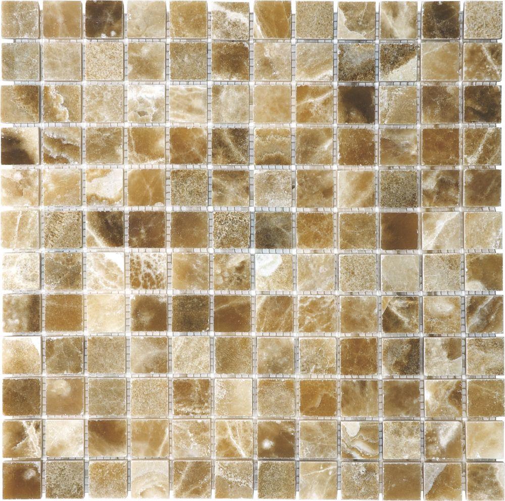 Mosaïques en onyx Caramel poli de 1po × 1po