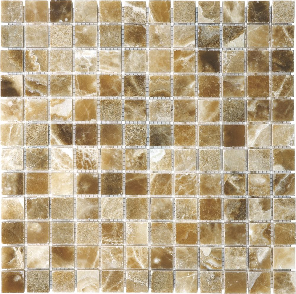 1-Inch x 1-Inch Polished Caramel Onyx Mosaic Tile