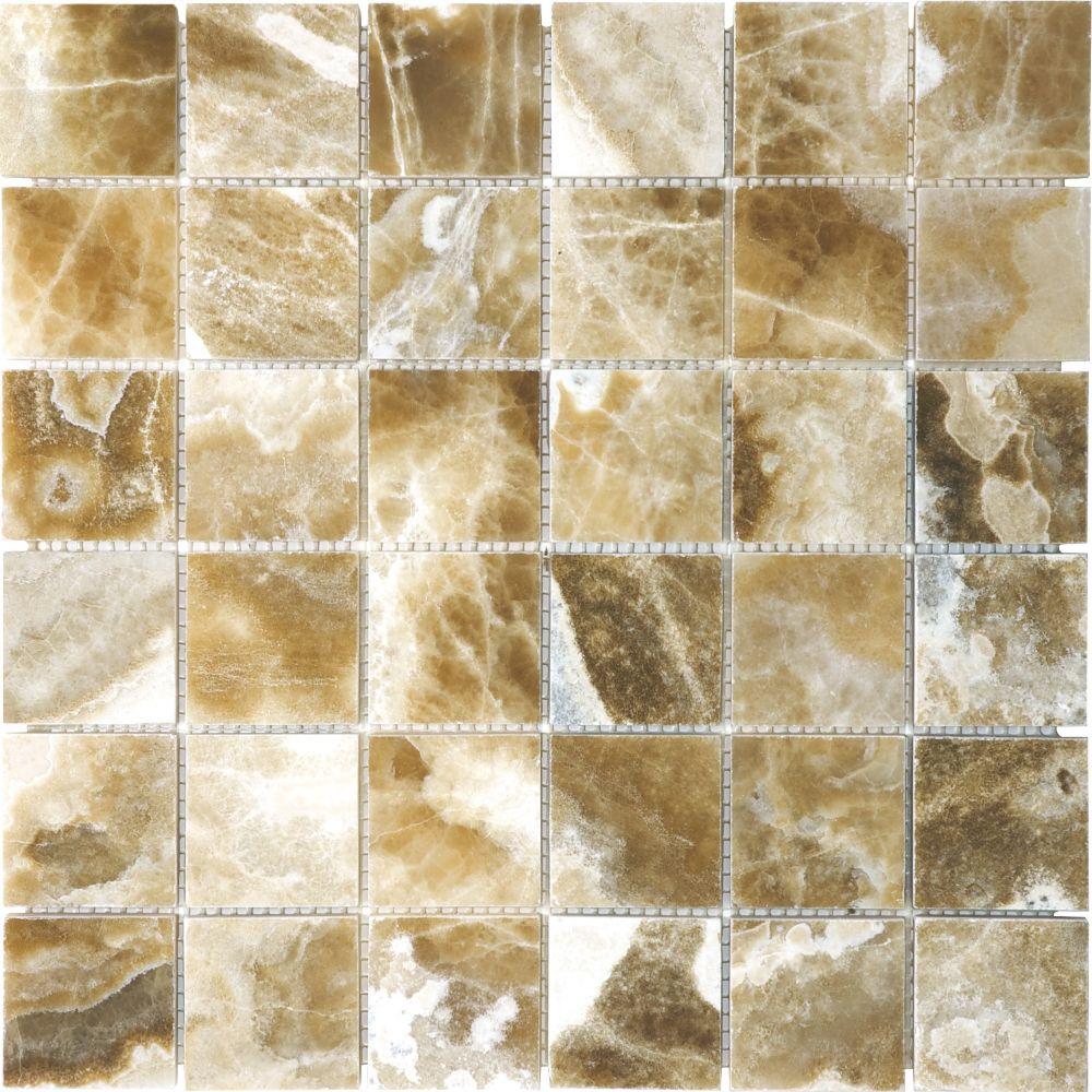 Polished Caramel Onyx Mosaics - 2 Inches x 2 Inches