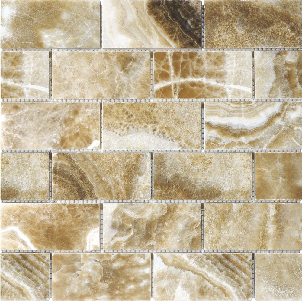 Mosaïques en onyx Caramel poli de 2po × 4po