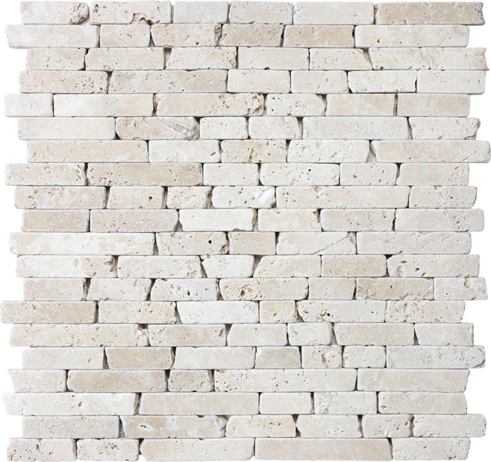 5/8-Inch Tumbled Random Strip Mosaic Tile in Ivory Travertine
