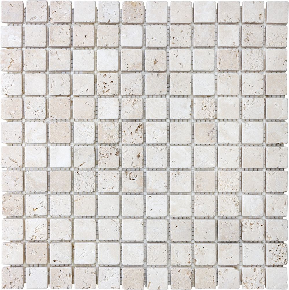 1-Inch x 1-Inch Tumbled Mosaic Tile in Ivory Travertine