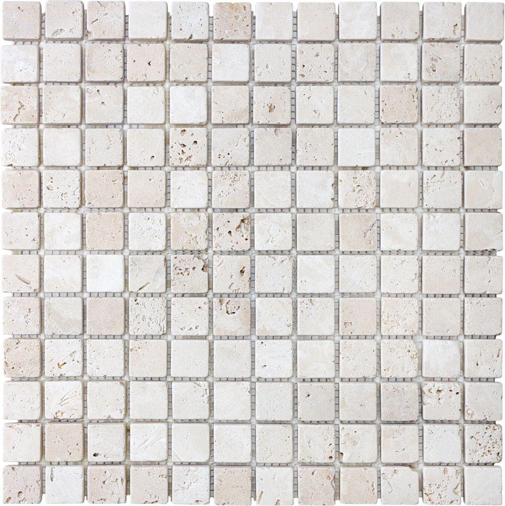 Tumbled Ivory Travertine Mosaics - 1 Inch x 1 Inch