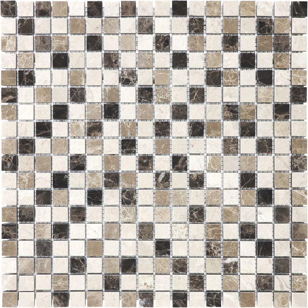 5/8-Inch x 5/8-Inch Emperador Blend Mosaic Tile