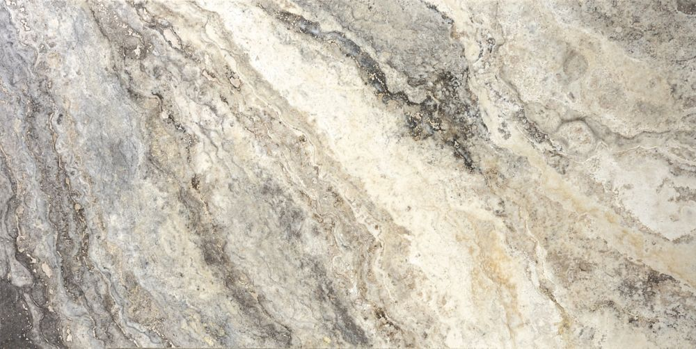12-Inch x 24-Inch Filled and Honed Picasso Travertine Tile (8 sq. ft./case)