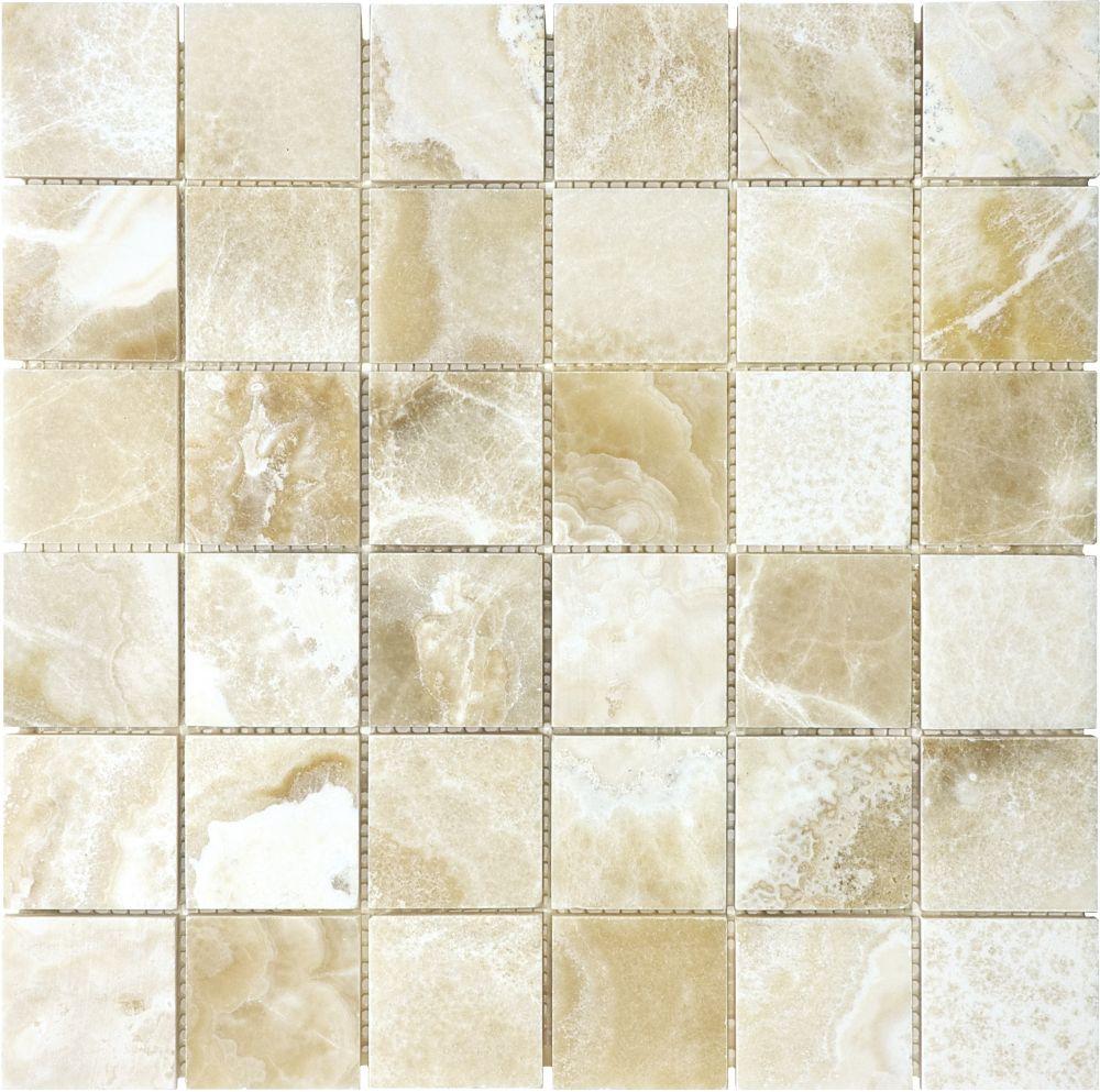 2-Inch x 2-Inch Polished Crema Onyx Mosaic Tile