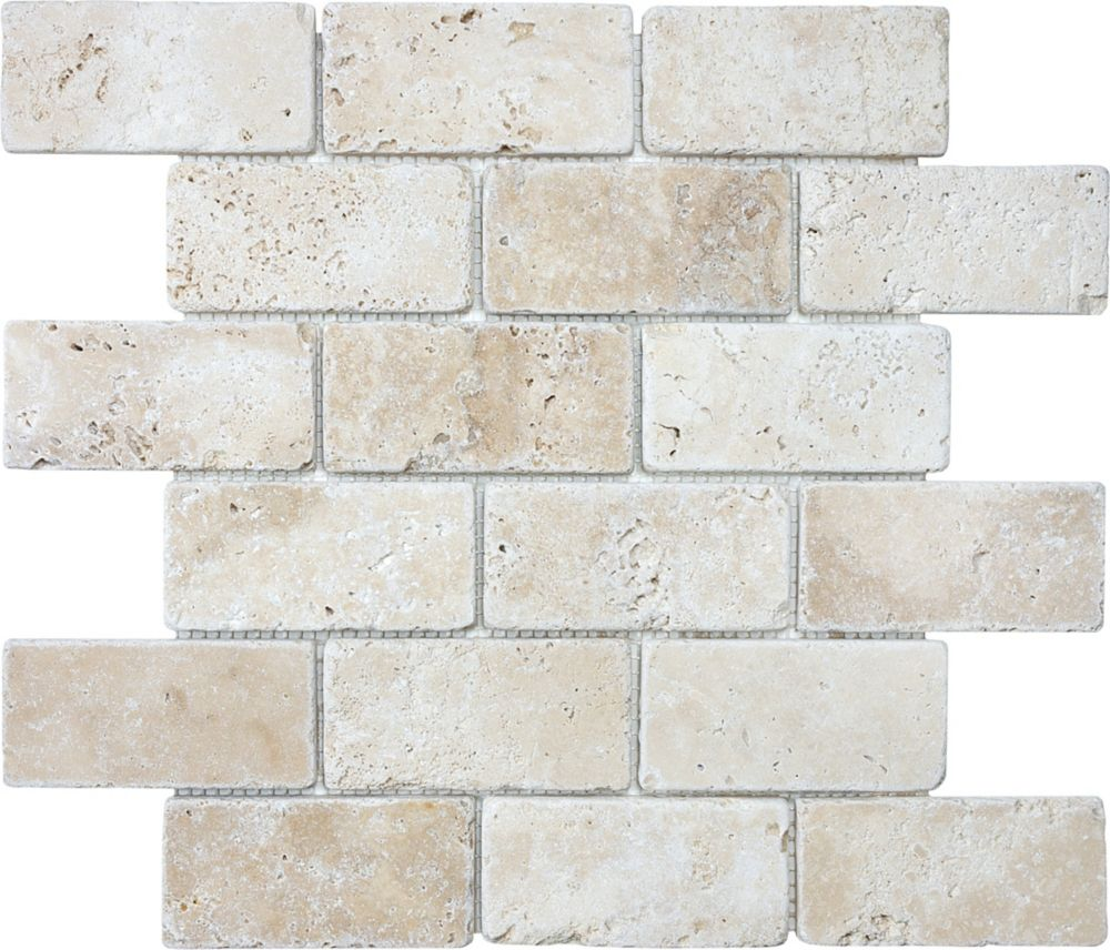Tumbled Ivory Travertine Brick Mosaics - 2 Inches x 4 Inches