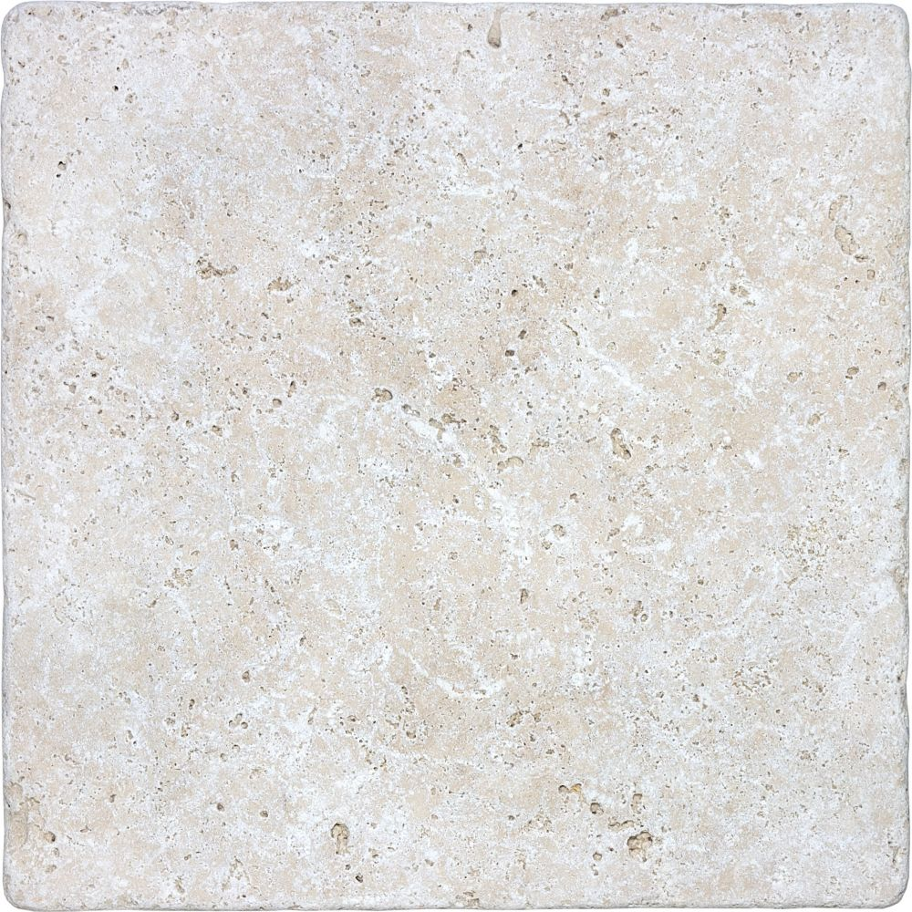 12-Inch x 12-Inch Tumbled Tile in Ivory Travertine (10 sq. ft./case)