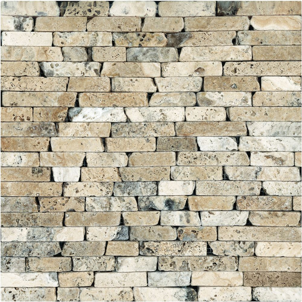 5/8-Inch Tumbled Picasso Travertine Random Strip Mosaic Tile (10 sq. ft./case)