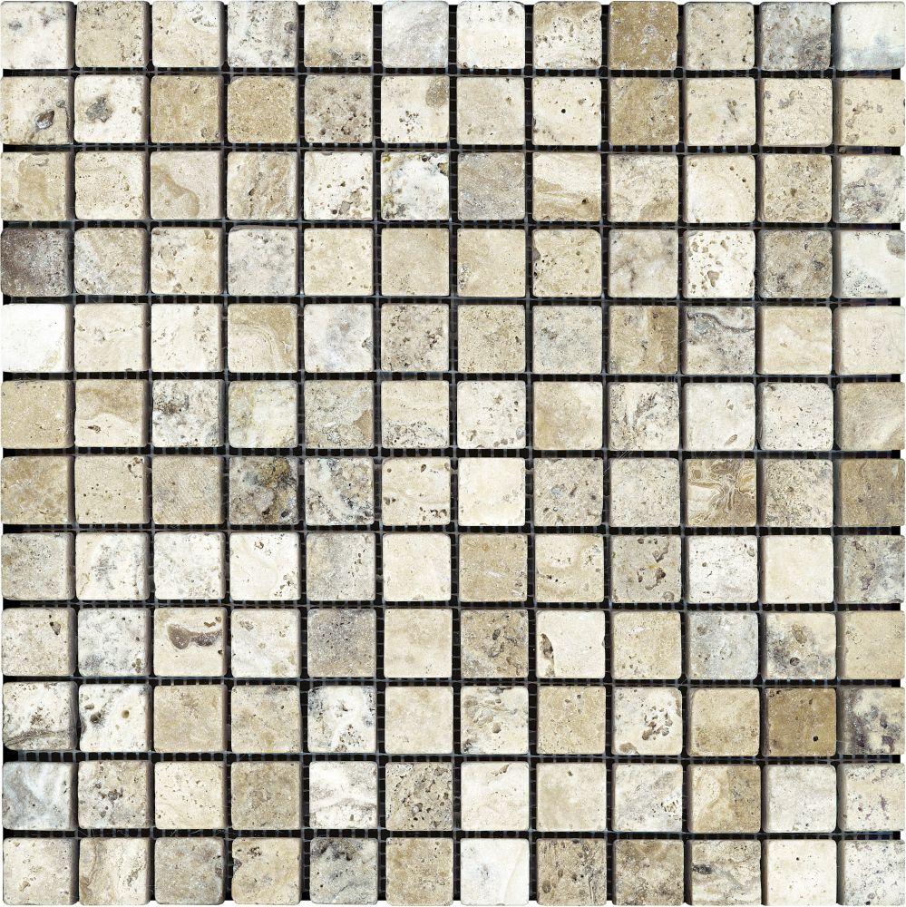 Tumbled Picasso Travertine Mosaics - 1 Inch x 1 Inch