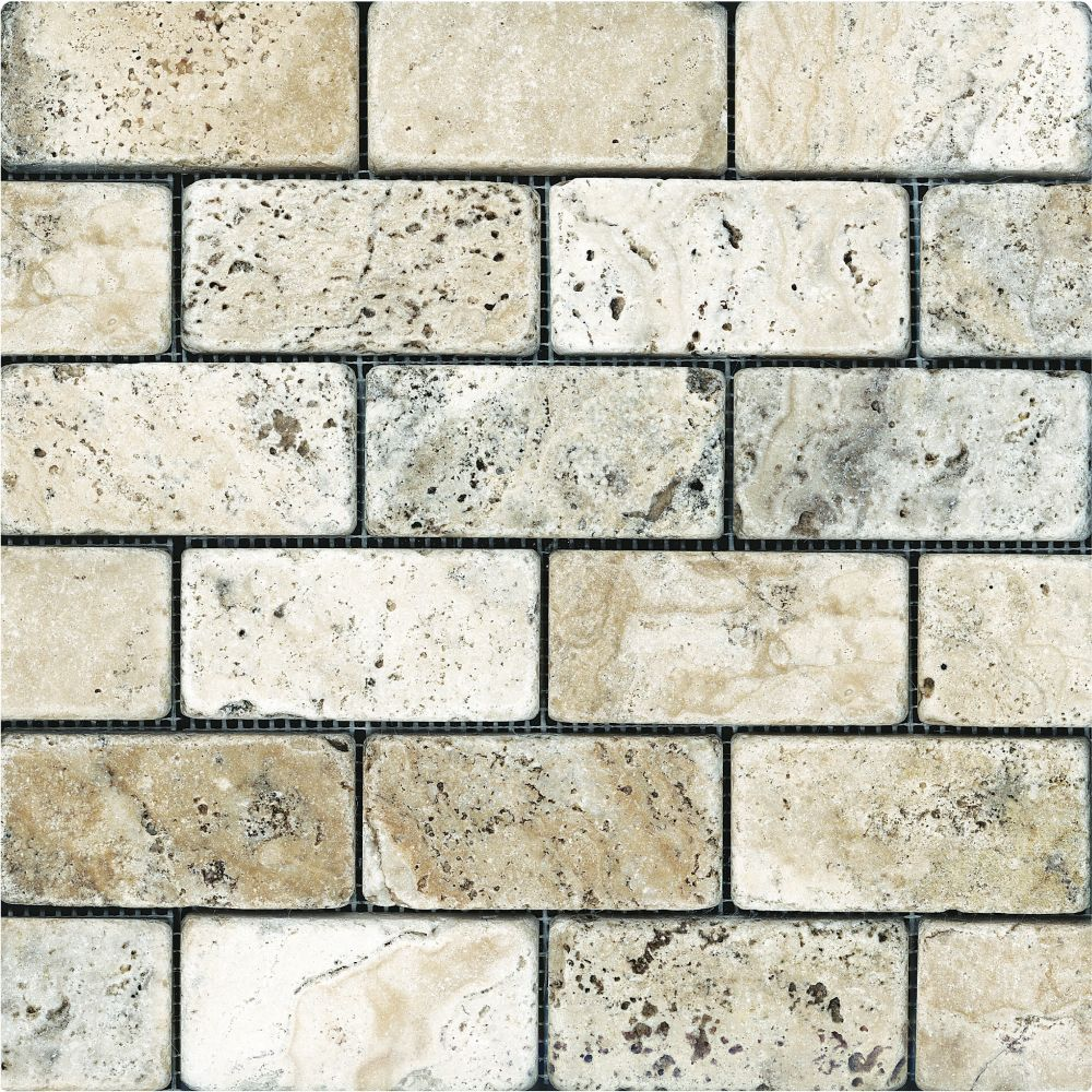 2-Inch x 4-Inch Tumbled Picasso Travertine Brick Mosaic Tile