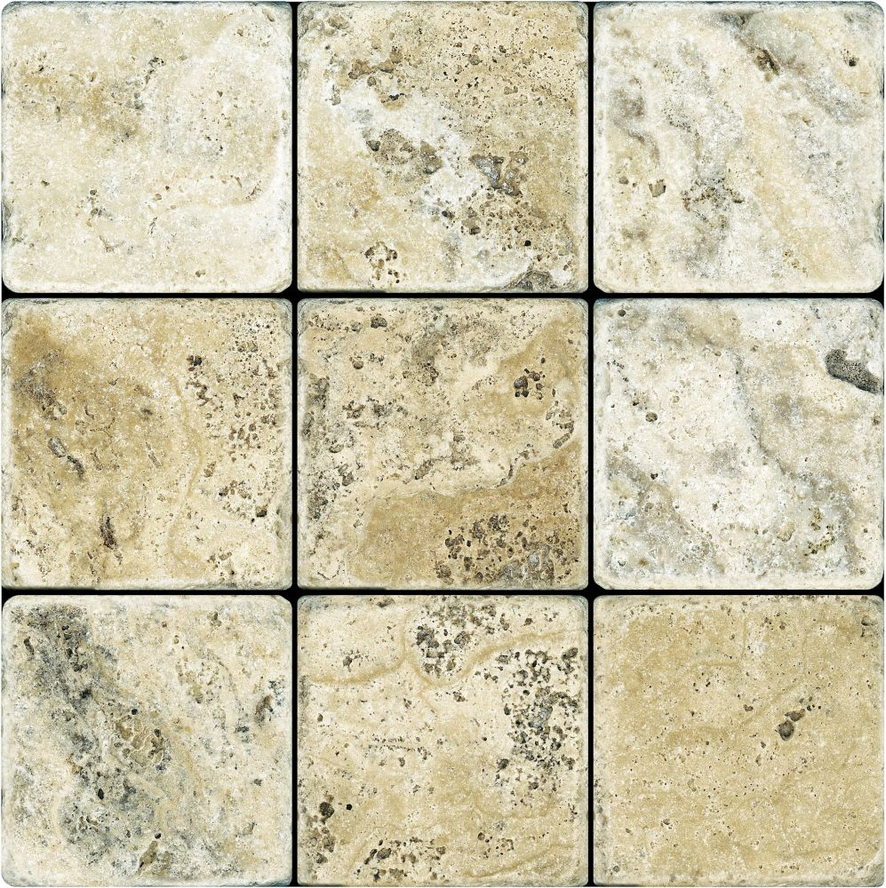 4-Inch x 4-Inch Tumbled Picasso Travertine Tile (5.38 sq. ft./case)