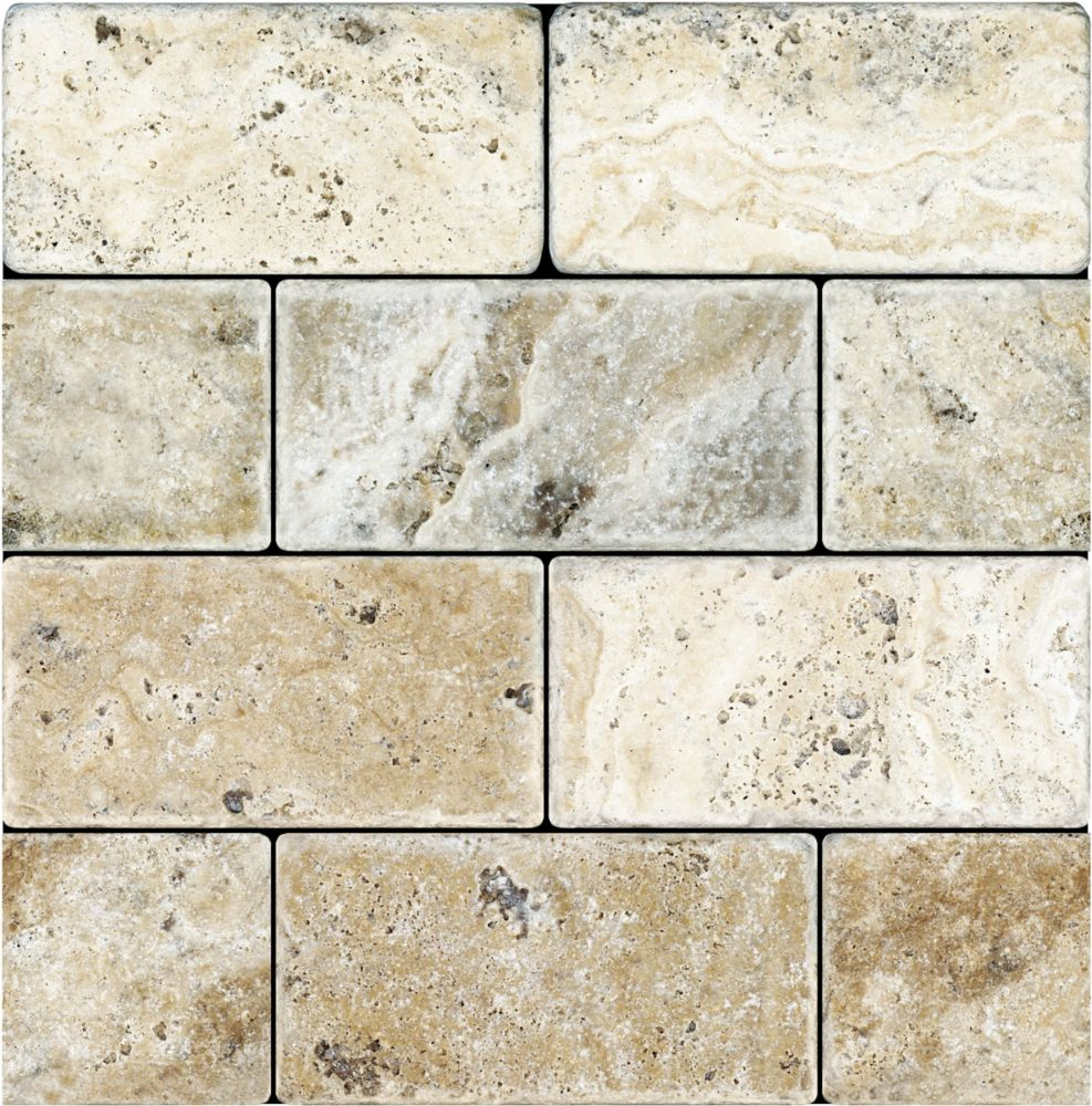 3-Inch x 6-Inch Tumbled Picasso Travertine Tile (5.38 sq. ft./case)