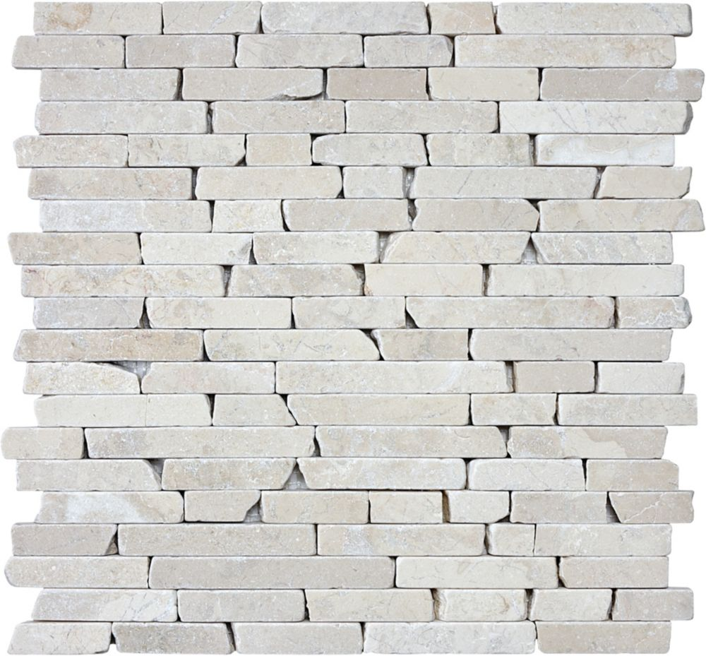 Tumbled Berkshire Crema Random Strip Mosaics - 5/8 Inches