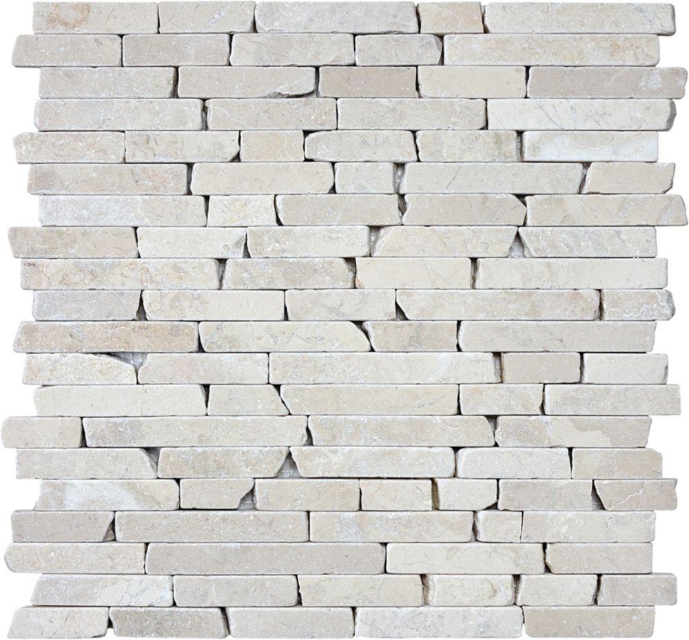 5/8-Inch Tumbled Berkshire Crema Random Strip Mosaic Tile