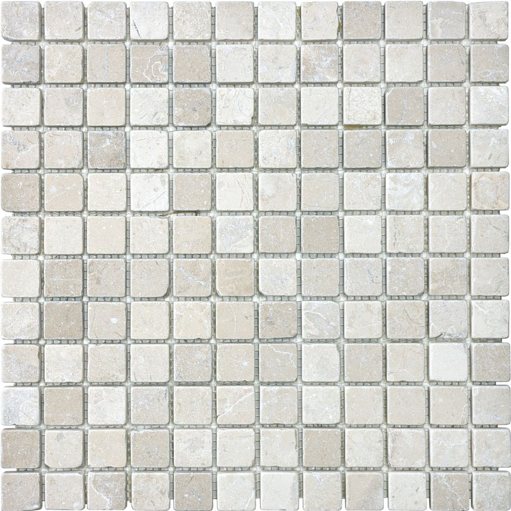Tumbled Berkshire Crema Mosaics - 1 Inch x 1 Inch