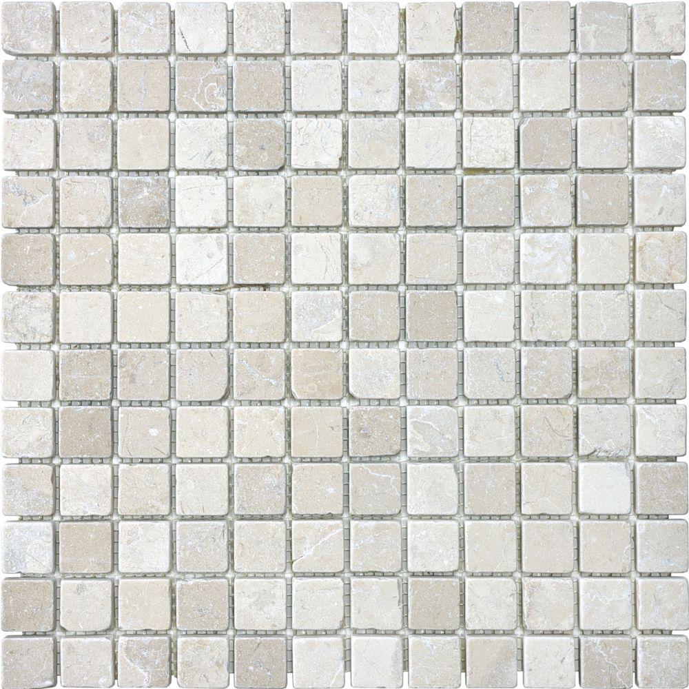 1-Inch x 1-Inch Tumbled Berkshire Crema Mosaic Tile