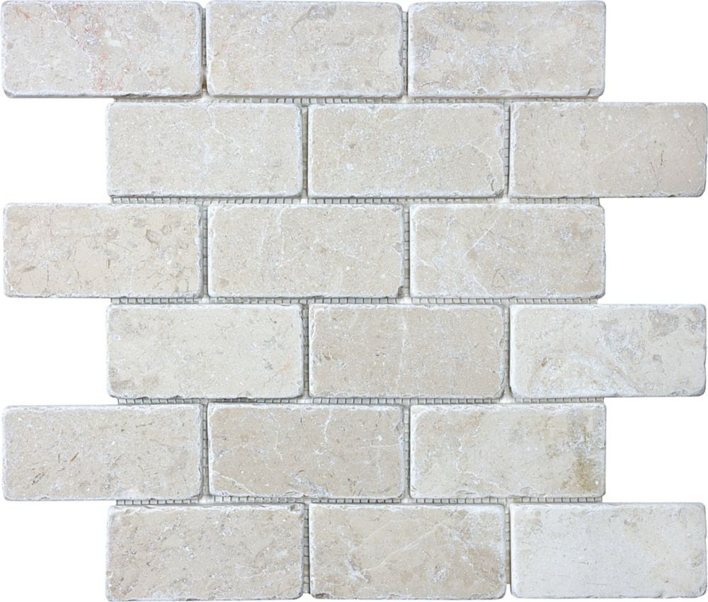 Mosaïques de brique Berkshire Crema vieillies de 2po × 4po