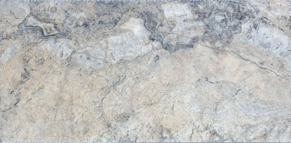 8-Inch x 16-Inch Travertine Chiseled and Brushed Tile in Antique Pewter (7.12 sq. ft./case)