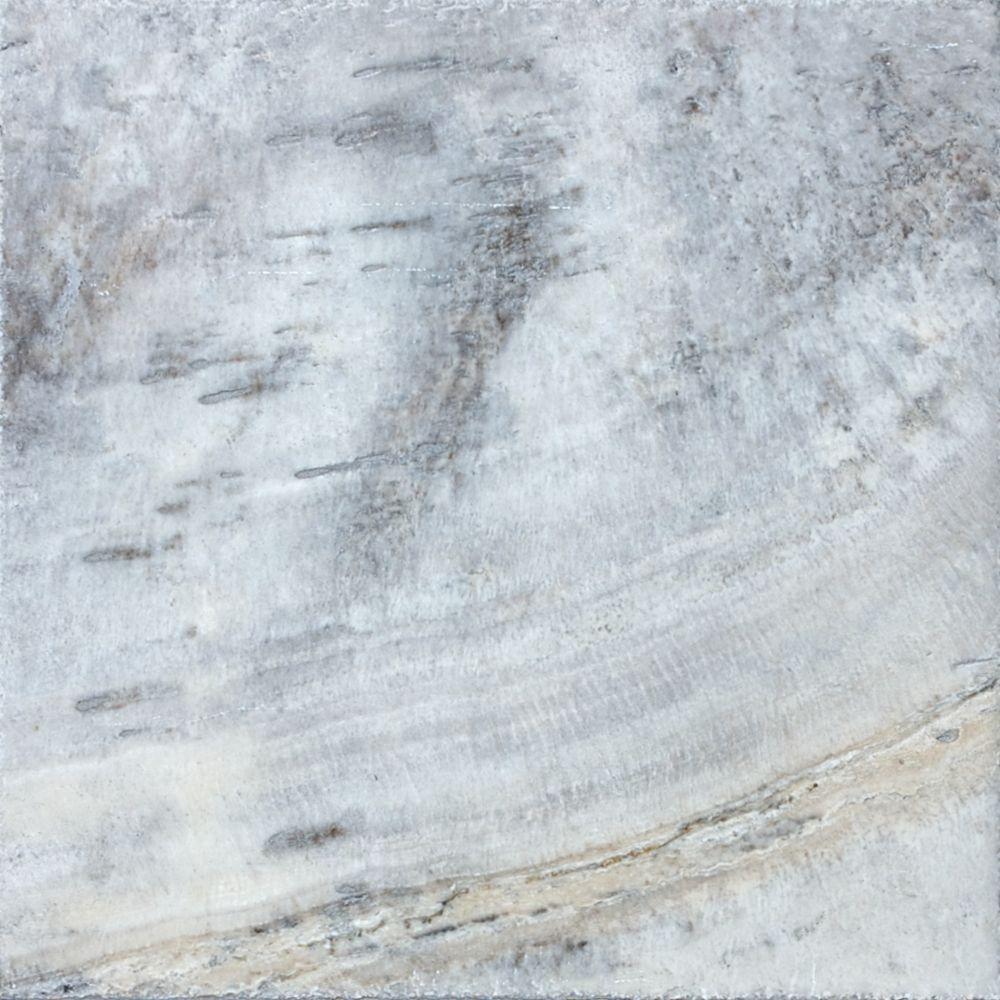 Travertin de couleur étain antique ciselé et brossé de 16 po × 16 po -( 7,12 pi. carré par caisse...