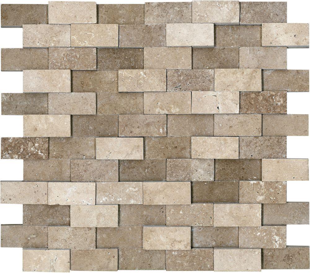Honed Cubics Noce Travertine Mosaics - 1 Inch x 2 Inches