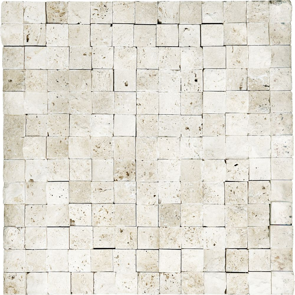 1-Inch x 1-Inch Split Face Mosaic Tile in Ivory Travertine