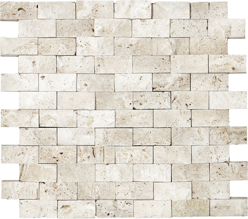 1-Inch x 2-Inch Split Face Mosaic Tile in Ivory Travertine