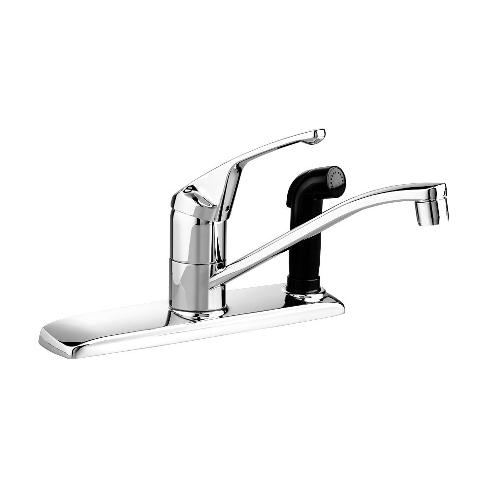 Colony Single-Handle Through Escutcheon Sprayer Kitchen Faucet in Polished Chrome