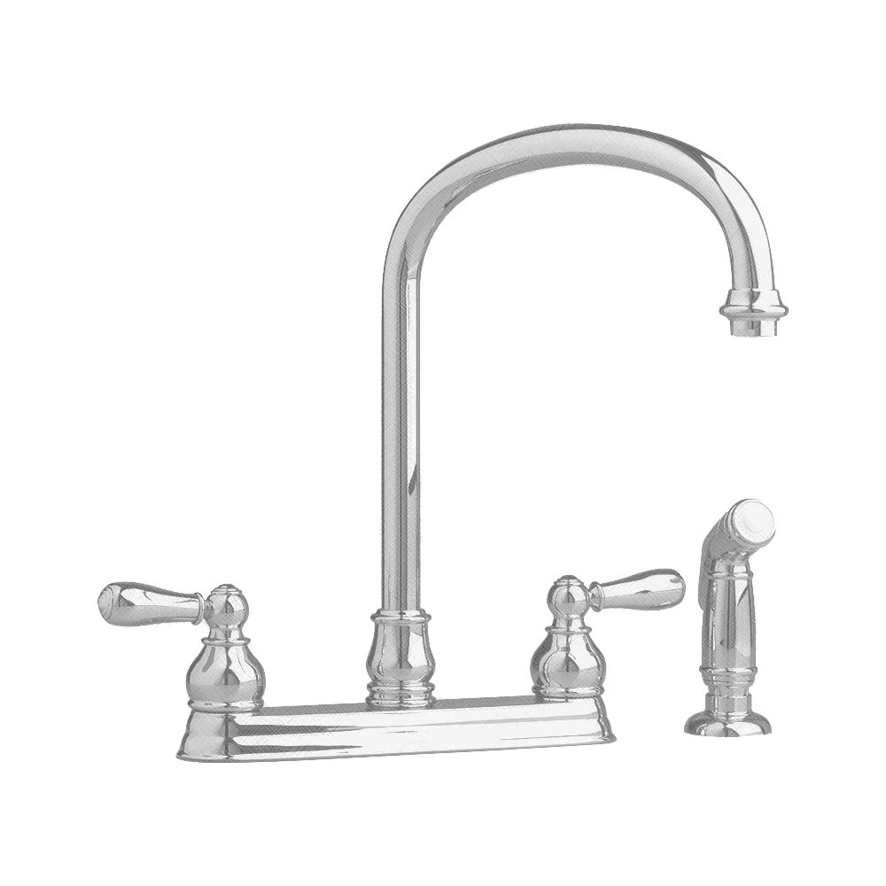 Hampton 2-Handle Kitchen Faucet in Satin Nickel with Escutcheon Plate
