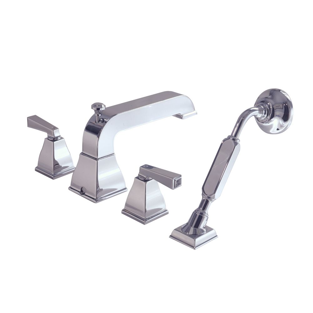 Town Square 2-Handle Deck-Mount Roman Bath Faucet with Hand Shower in Polished Chrome Finish