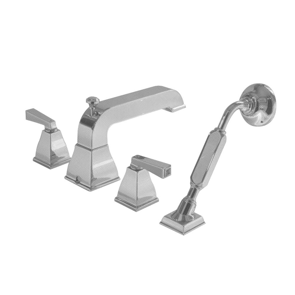 Town Square 2-Handle Deck-Mount Roman Bath Faucet with Hand Shower in Satin Nickel Finish