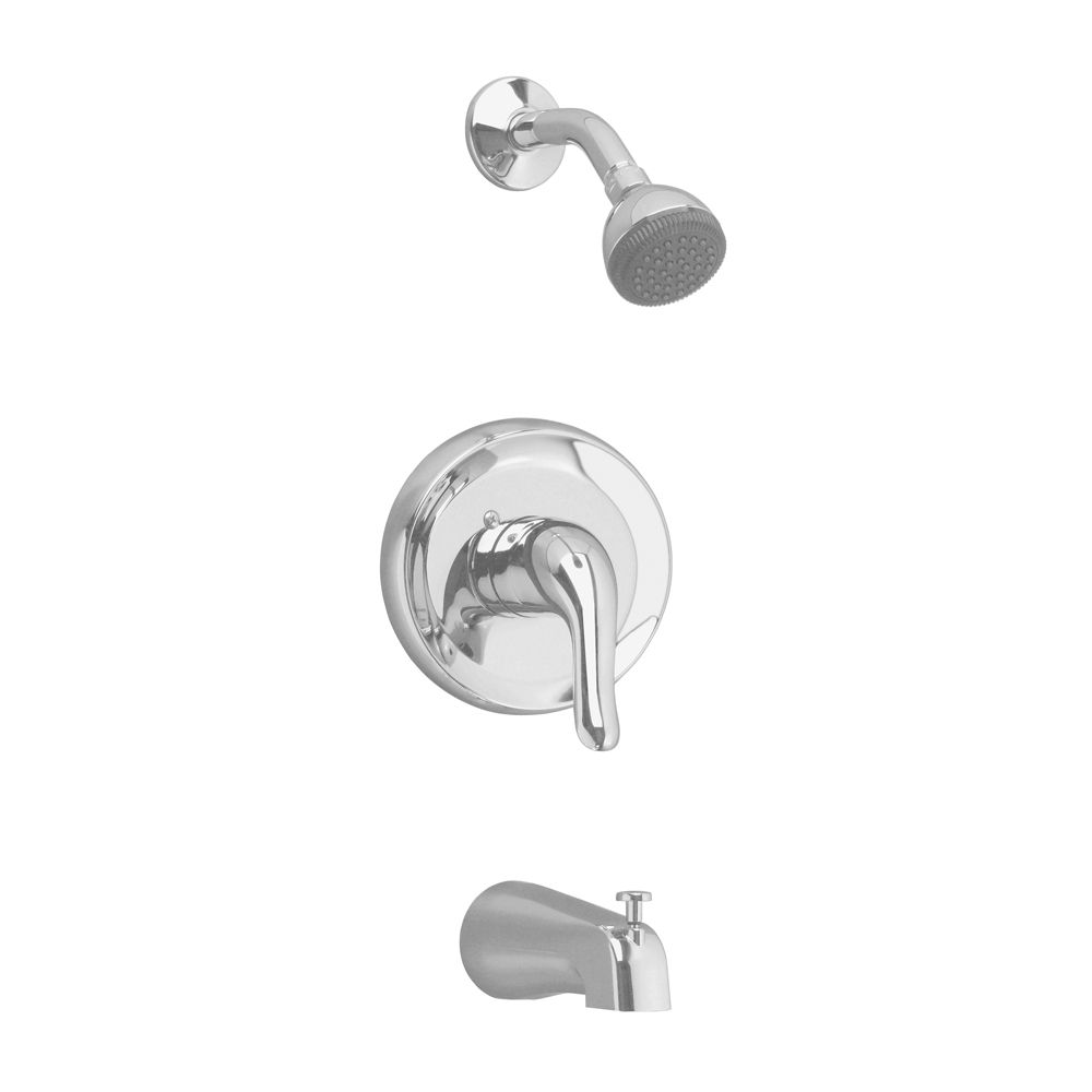 Colony Soft Bath/Shower Trim Kit with Easy Clean Showerhead and Shower Arm in Satin Nickel