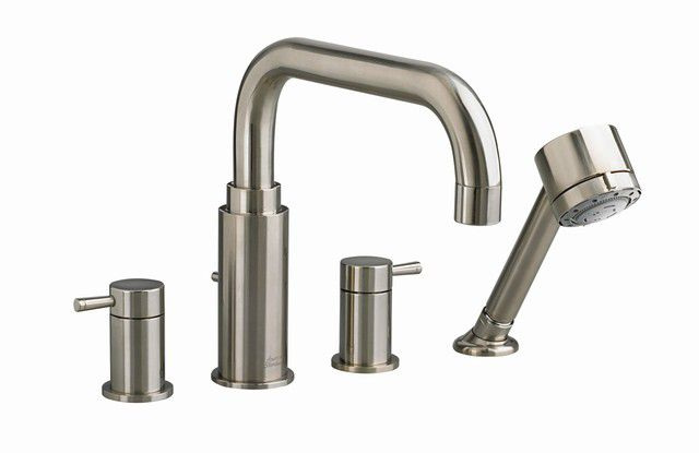 Serin Deck-Mount Bath Faucet with Personal Shower and Brass Spout in Polished Chrome