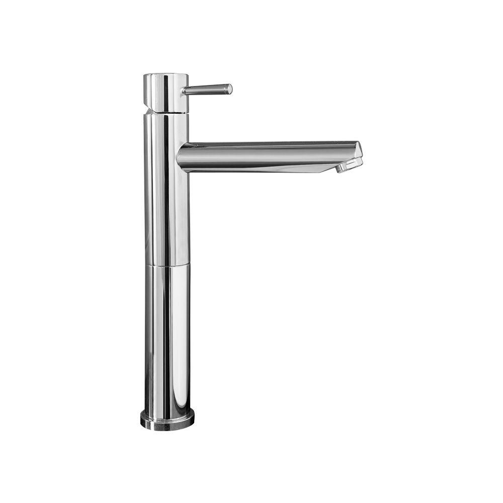 Serin Single Hole Single-Handle Mid-Arc Bathroom Vessel Faucet with Grid Drain in Chrome