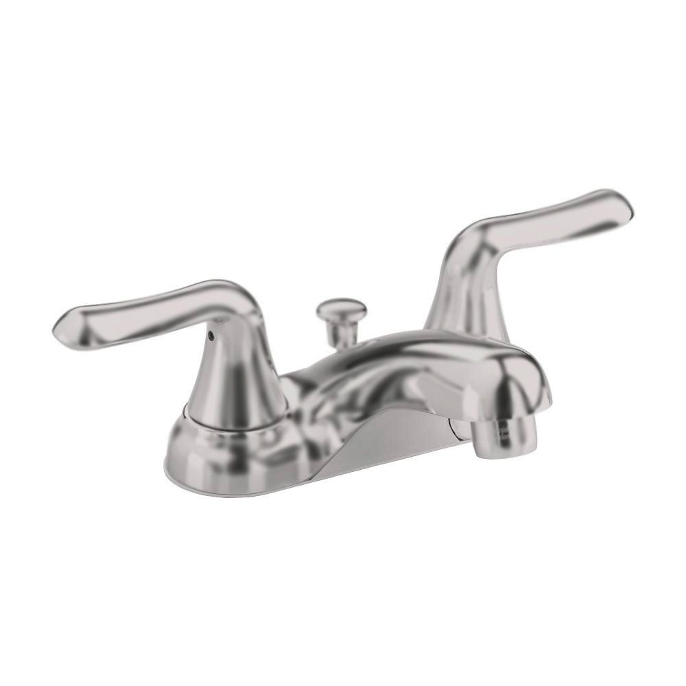 Colony Soft 4-inch 2-Handle Bathroom Faucet with Pop-Up Drain in Satin Nickel Finish