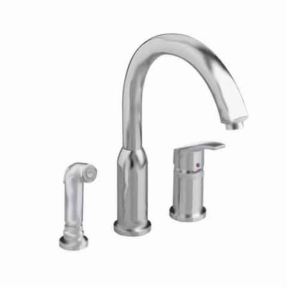 American Standard Arch Single Handle Side Sprayer Kitchen Faucet In Stainless Steel The Home