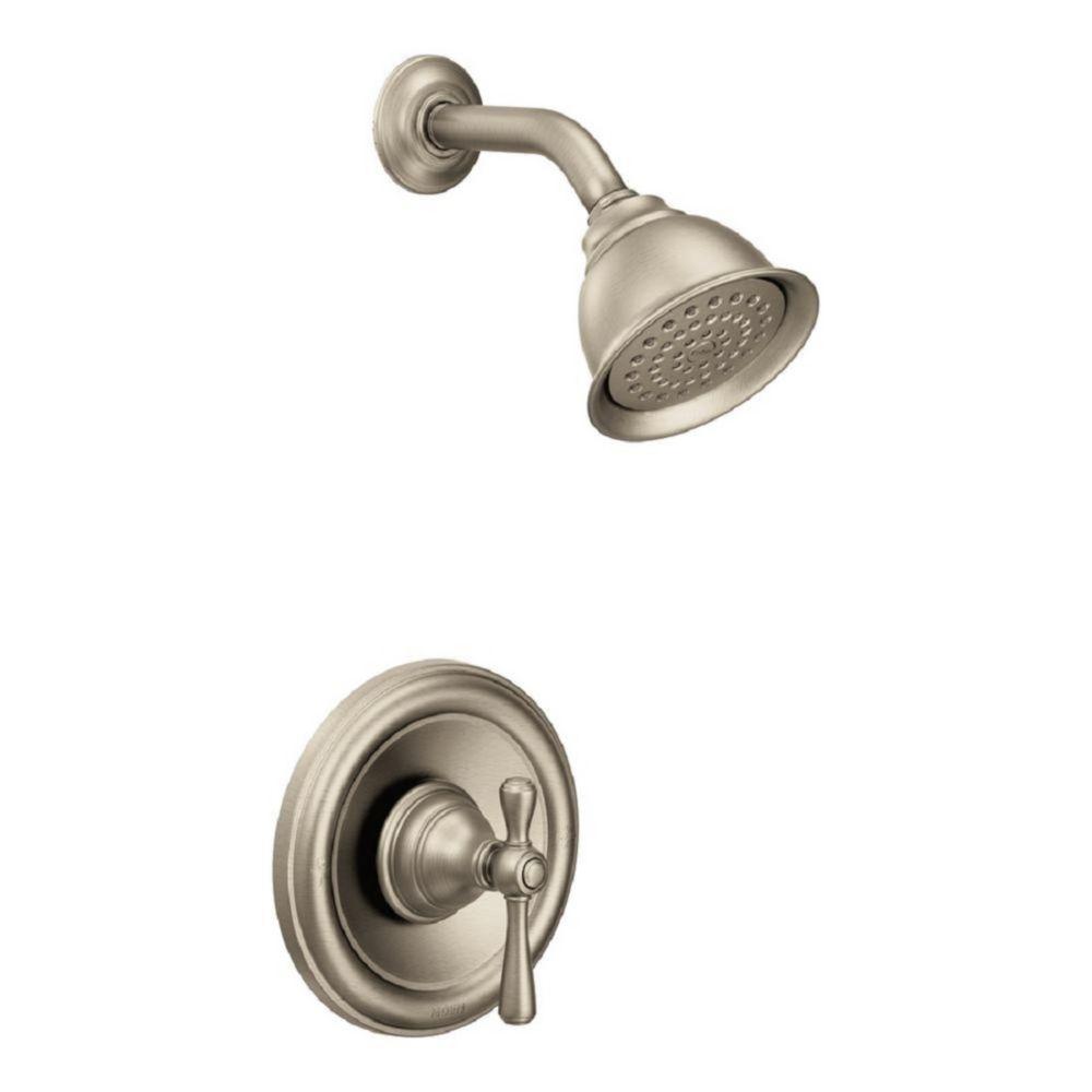 Kingsley - Robinet de douche/baignoire avec garniture (garniture seul.) - fini nickel brossé