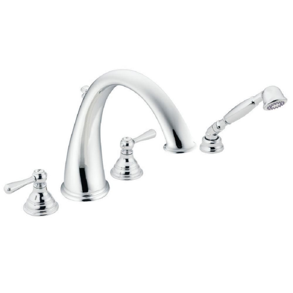 Kingsley 2-Handle High-Arc Roman Tub Faucet Trim Kit with Hand Shower in Chrome (Valve Not Included)
