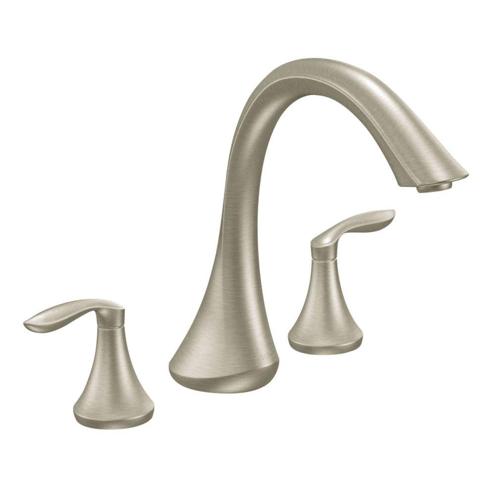 Eva 2-Handle High Arc Roman Bath Faucet in Brushed Nickel
