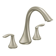 Eva 2-Handle High Arc Roman Bath Faucet in Brushed Nickel (Valve Sold Separately)
