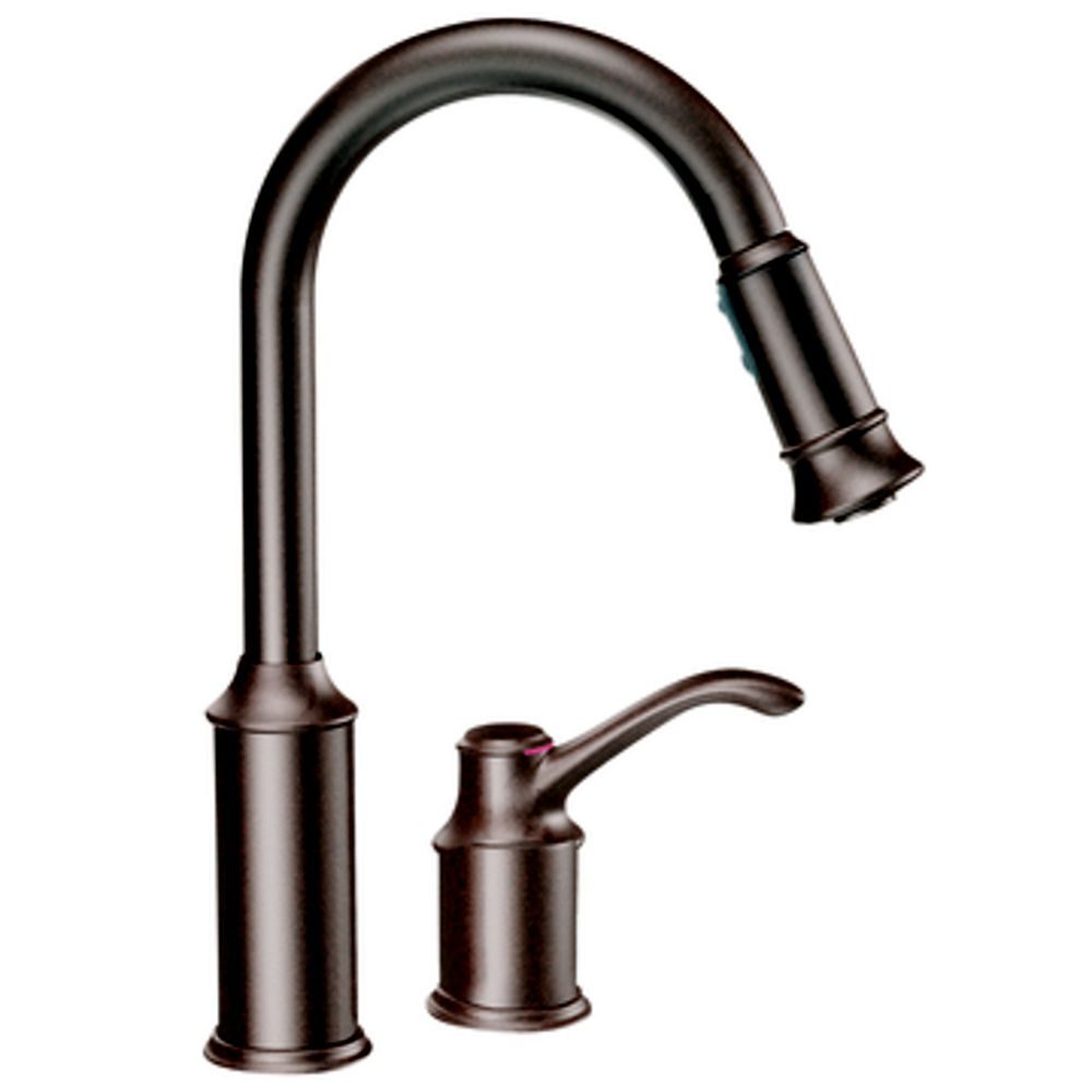 Moen Aberdeen Single-Handle Kitchen Faucet with Matching Pulldown Wand in Oil Rubbed Bronze