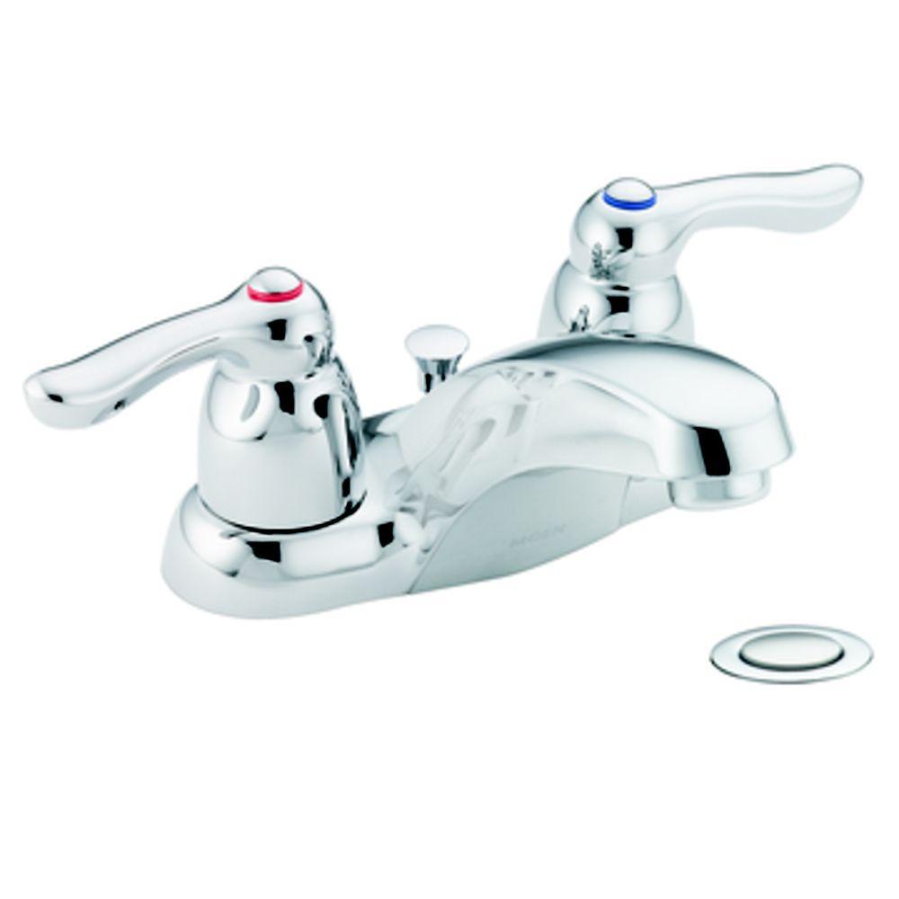 Moen Chateau Centerset (4-inch) 2-Handle Low Arc Bathroom Faucet in ...