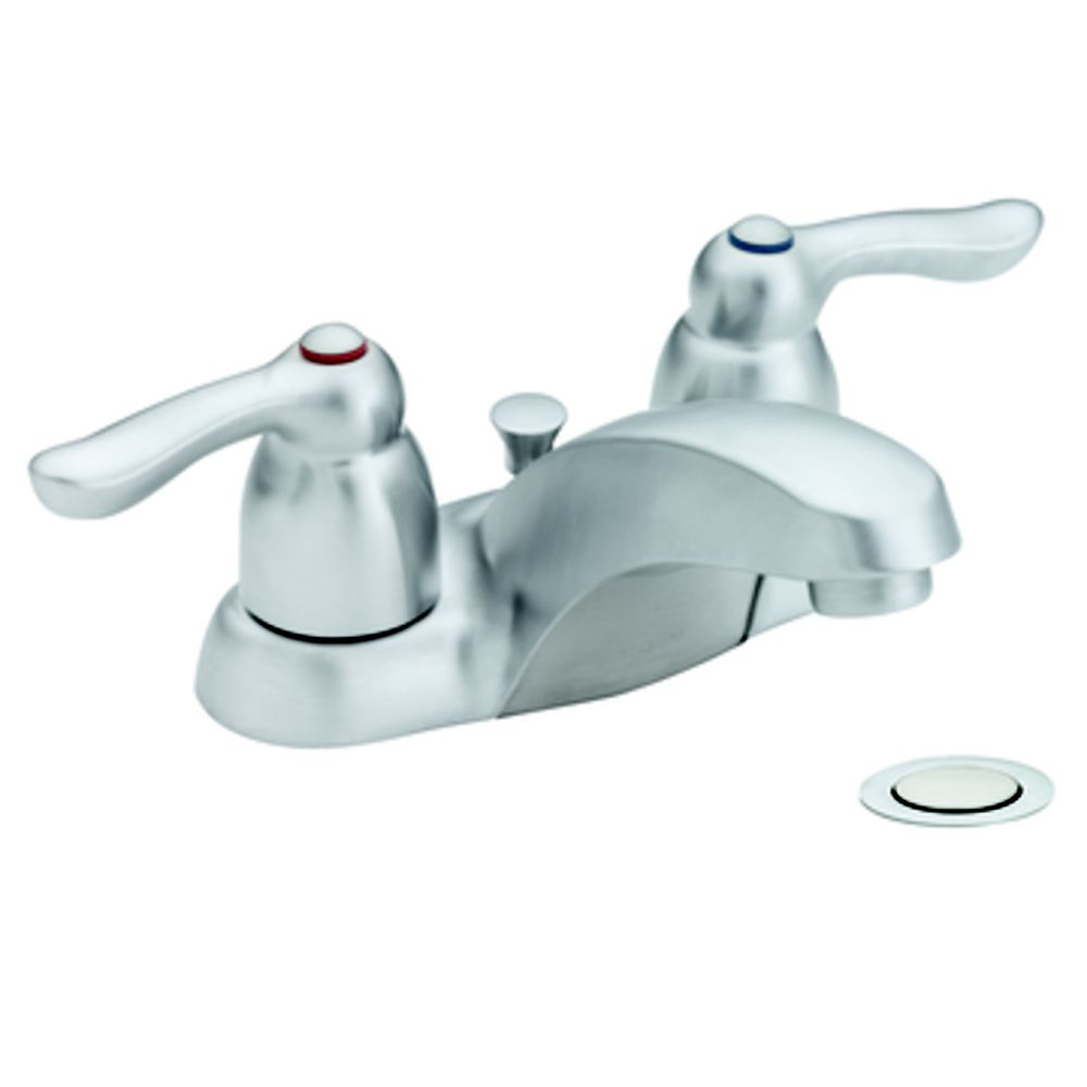 Moen Centerset (4-inch) 2-Handle Low Arc Bathroom Faucet in Chrome with Lever Handles