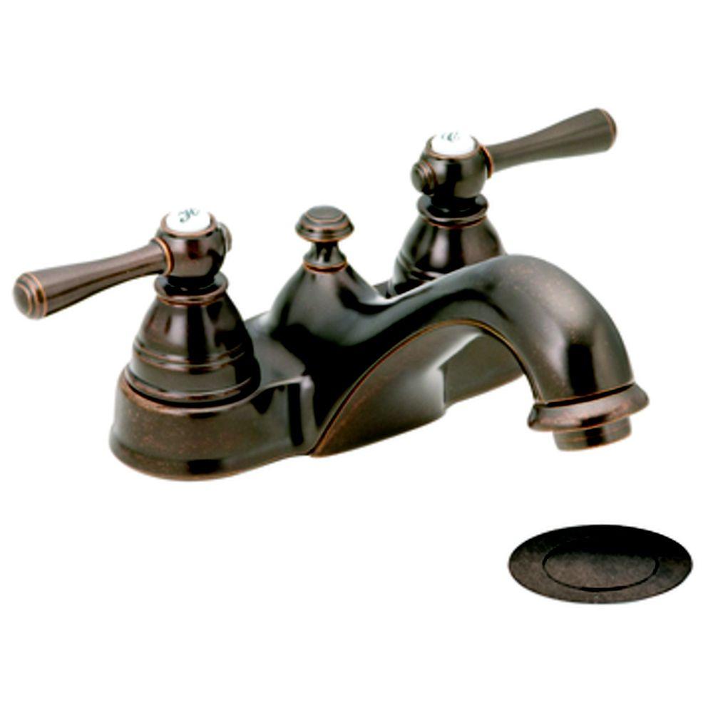 Moen Kingsley Centerset (4-inch) 2-Handle Low Arc Bathroom Faucet in Bronze with Lever Handles