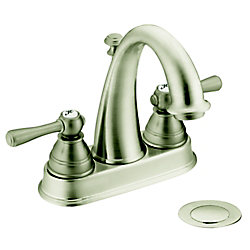 Kingsley Centerset (4-inch) 2-Handle High Arc Bathroom Faucet in Brushed Nickel with Lever Handles