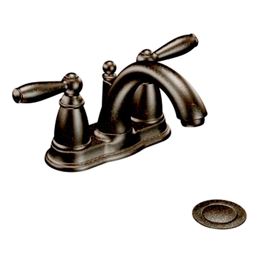 Moen Brantford 4-Inch Centerset 2-Handle Low-Arc Bathroom Faucet in Oil Rubbed Bronze