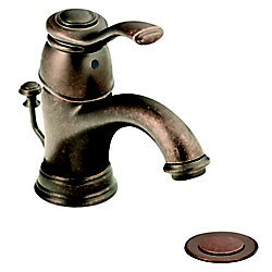 Kingsley Single Hole 1-Handle Low Arc Bathroom Faucet in Bronze with Lever Handle