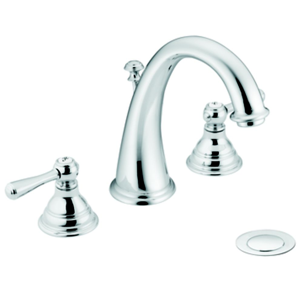 Kingsley Widespread (8-inch) 2-Handle High Arc Bathroom Faucet in Chrome with Lever Handles