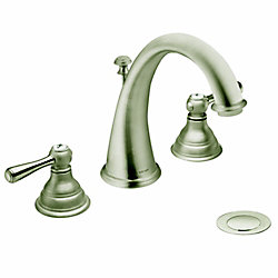 Kingsley Widespread (8-inch) 2-Handle High Arc Bathroom Faucet in Brushed Nickel with Lever Handles